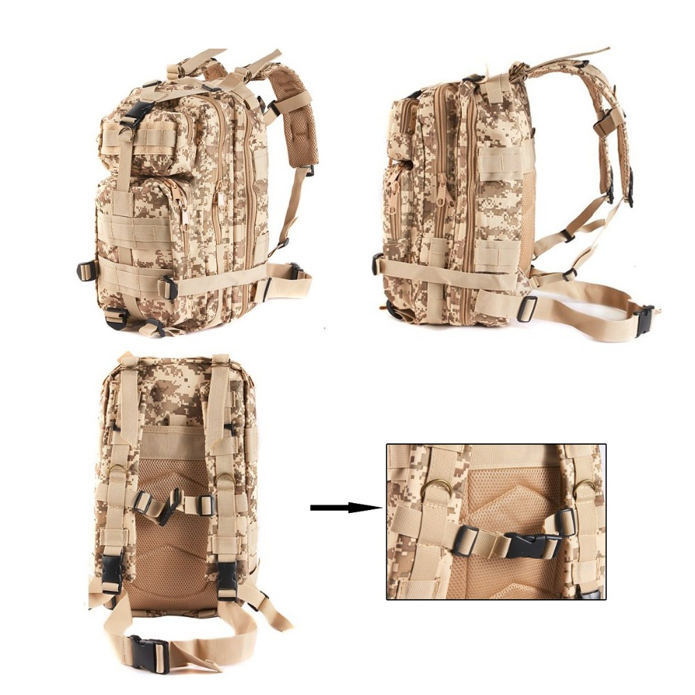 YOUGLE 30L Large Capacity Army Military Tactical Trekking Rucksack Backpack Storage Bag For Camping Hiking