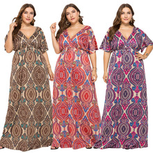 Women Print Floral Oversized Maxi Dresses Sexy Deep V Neck Open Back Elastic Waistband Ethnic Loose Gown Dress For Ladies 2019 oversized abstract print maxi dress