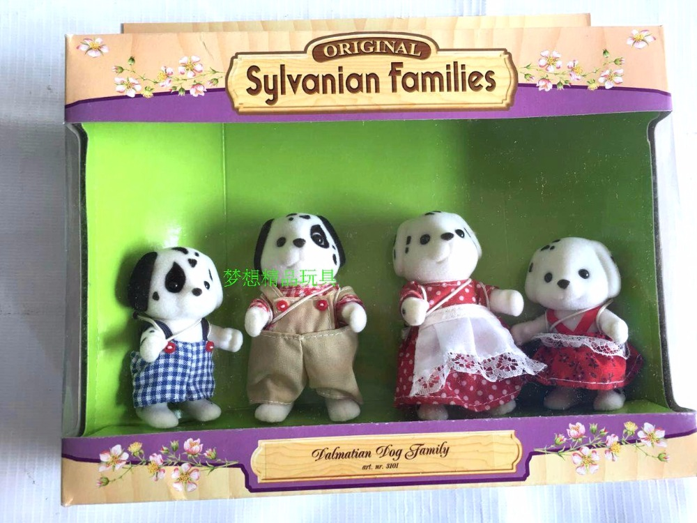 Spotted dog family original mini size Sylvanian Families Figures  mini figure Anime Cartoon figures, Toys Child Toys gift tt03 sylvanian families mouse family 4pcs parents