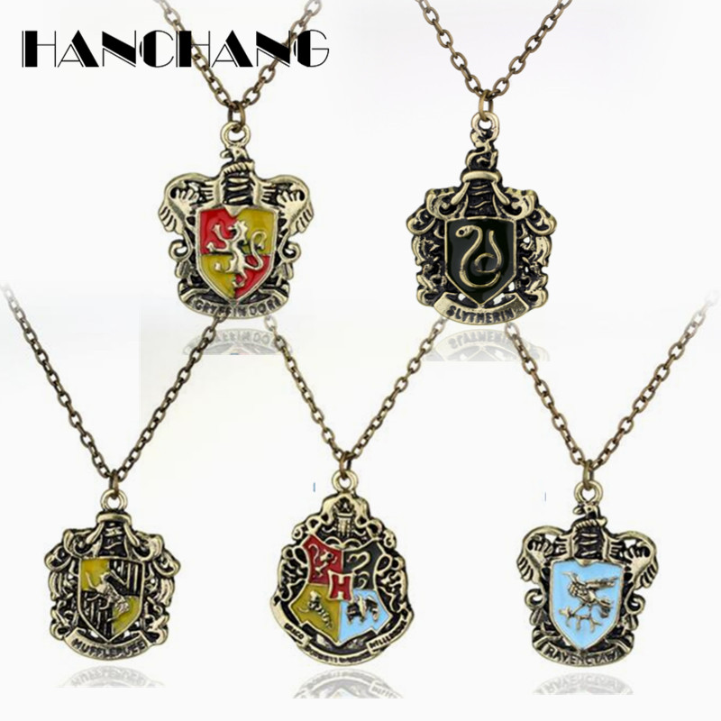 Movie H P <font><b>Hogwarts</b></font> School Badge Pendants <font><b>Necklace</b></font> for Students Kids <font><b>Unisex</b></font> Vintage accessories image