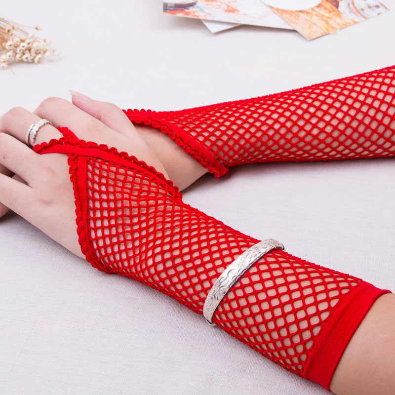 6 Colors Fishnet Gloves Lace Transparent Fingerless Long Gloves Women Sexy Lingerie Erotic Costume Accessories For Adults