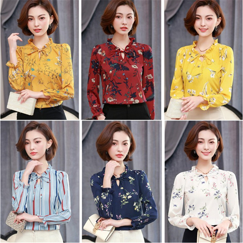Stripe white Camisas Manga Gasa black Mujer Tops Dot Oficina Famale Ol Camisa 2xl 3xl White 2018 Floral Larga Otoño Yellow blue black Dot Stripe Dot light black yellow Floral Floral Femenina Blusa Floral Blue red Polka white Star Señora Floral Stripe royal Estampado Blusas Star white 8nBWI4Yfq7