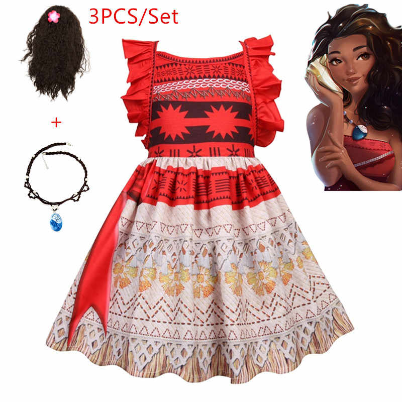 e555bfef91 New Vaiana Necklace Dress Moana clothing Princess Dresses Kids Party Cosplay  Costumes With Wig Children Clothing