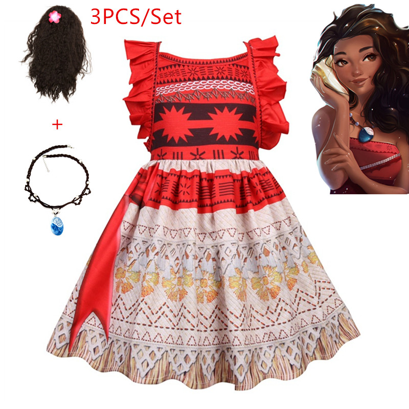 New Vaiana Necklace Gown Moana Clothes Princess Attire Children Social gathering Cosplay Costumes With Wig Kids Clothes Ladies Garments