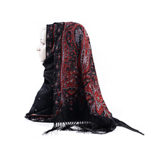 Russian Print Muslim Hijabs Headscarf Retro Style Islam Scarf/Scarves Shawl With Tassel Autumn Winter Pashmina Wraps