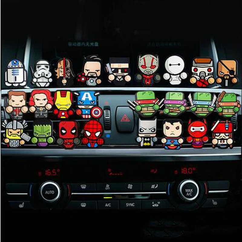 Cartoon Air Freshener Car Perfume Vent Outlet Clip Deadpool Star Wars Marvel Auto Solid Fragrance Air Conditioner Car Styling