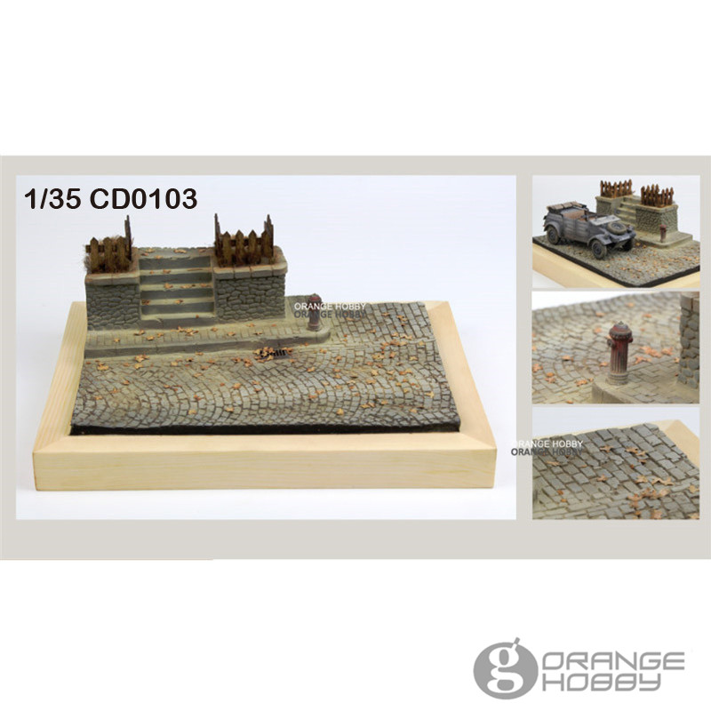OHS JNModel CD0103 1/35 World War II Street Corner Assembly Miniatures Accessories Model Building Kits oh