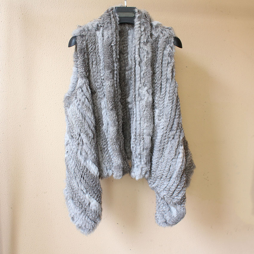 2018 hot selling rabbit fur vest femme natural real fur Knitted Real Rabbit Fur Waistcoat Shawls Autumn Spring sleeveless jacket