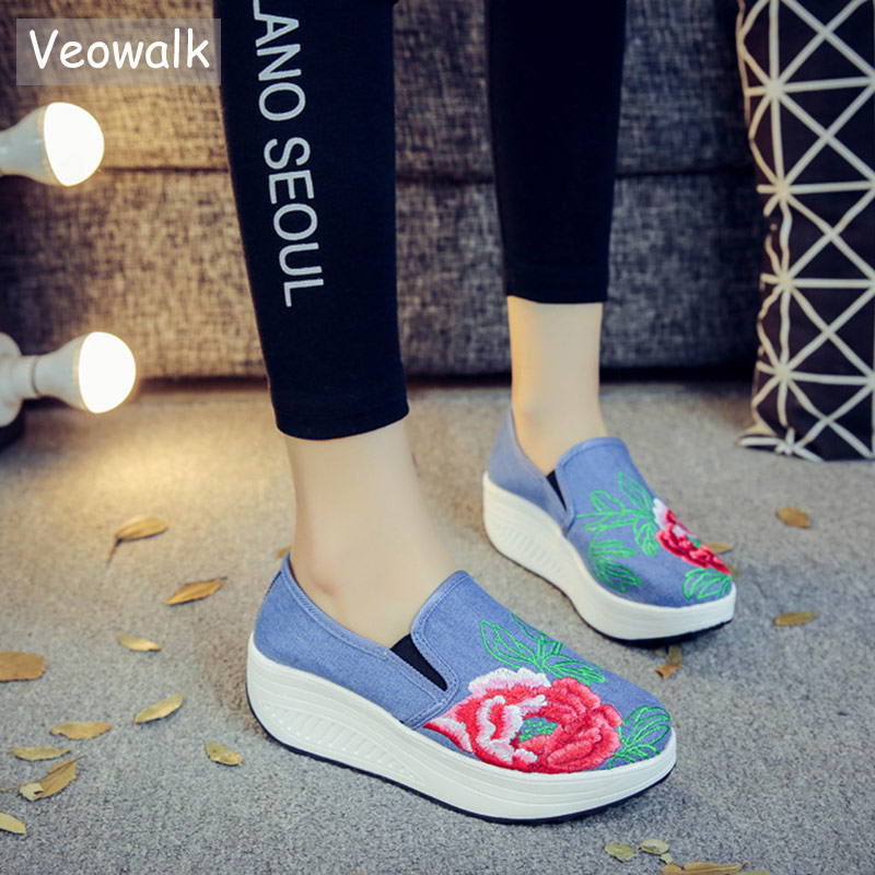 Veowalk Women Embroidered Canvas Flat Platforms Thick Bottom Ladies Casual Denim Cotton Fabric Embroidery Slip-on Loafer Shoes