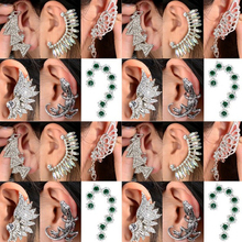 Mix Styles Punk Rock Retro Fashion Earring Crystal Rhinestone Leaf Ear Cuff Warp Clip Stud
