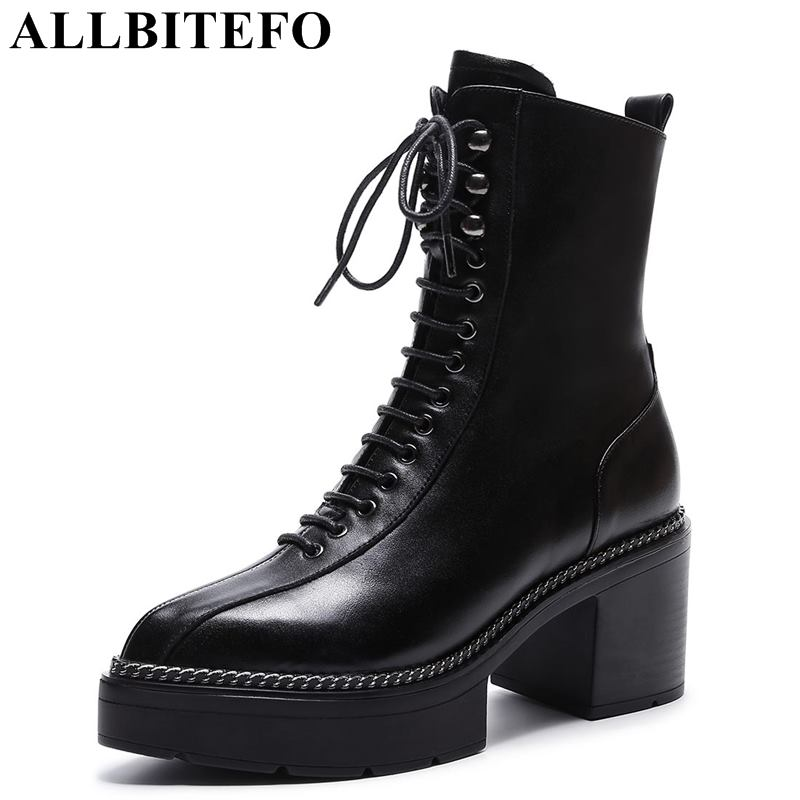 ALLBITEFO size:34-43 genuine leather pointed toe women high heel shoes thick heel martin boots high heels winter snow boots free shipping 2013 genuine leather high heel casual cotton padded shoes plus size 40 43 boots thick heel women s boots z476