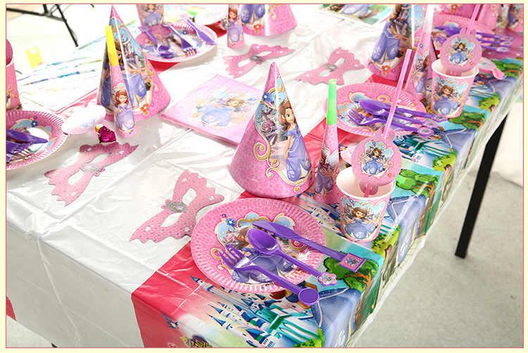 82pcs Princesa Sophia Crianças Fontes do Partido de Aniversário Talheres Descartáveis Placas Copos Decorações Do Chuveiro Do Bebê Favor Menina