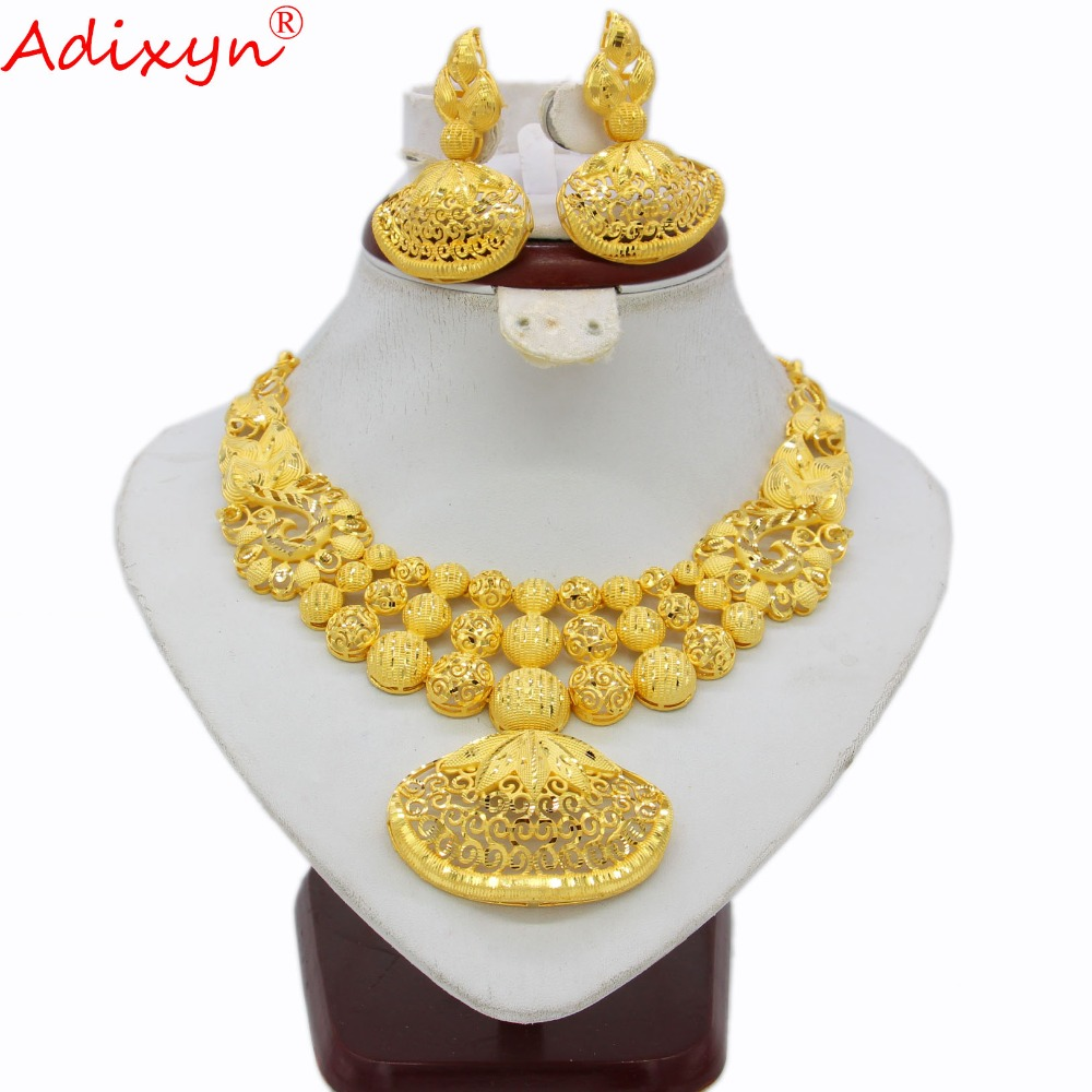 Adixyn Ethnic India Necklace Earrings Set Jewelry Women Girls Gold Color Arab Ethiopian African Wedding Accessories