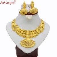 Adixyn этническое индийское ожерелье серьги набор ювелирных изделий для женщин девочек золотой цвет арабский/Эфиопский/Африканский Свадебны