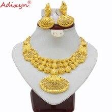 Adixyn Conjunto de collar y pendientes étnicos de la India, joyería para mujeres y niñas, Color dorado, Árabe/etíope/africano, accesorios de boda N03143