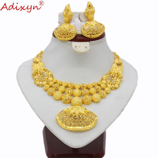 Adixyn Ethnic India Necklace Earrings Set Jewelry Women Girls Gold Color Arab/Ethiopian/African Wedding Accessories N03143