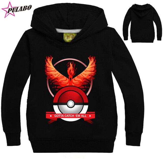 2016 spring autumn Cartoon Pokemon go Children Long sleeve sweater Kids pullover hoodies sweatshirts baby girls boys clothes