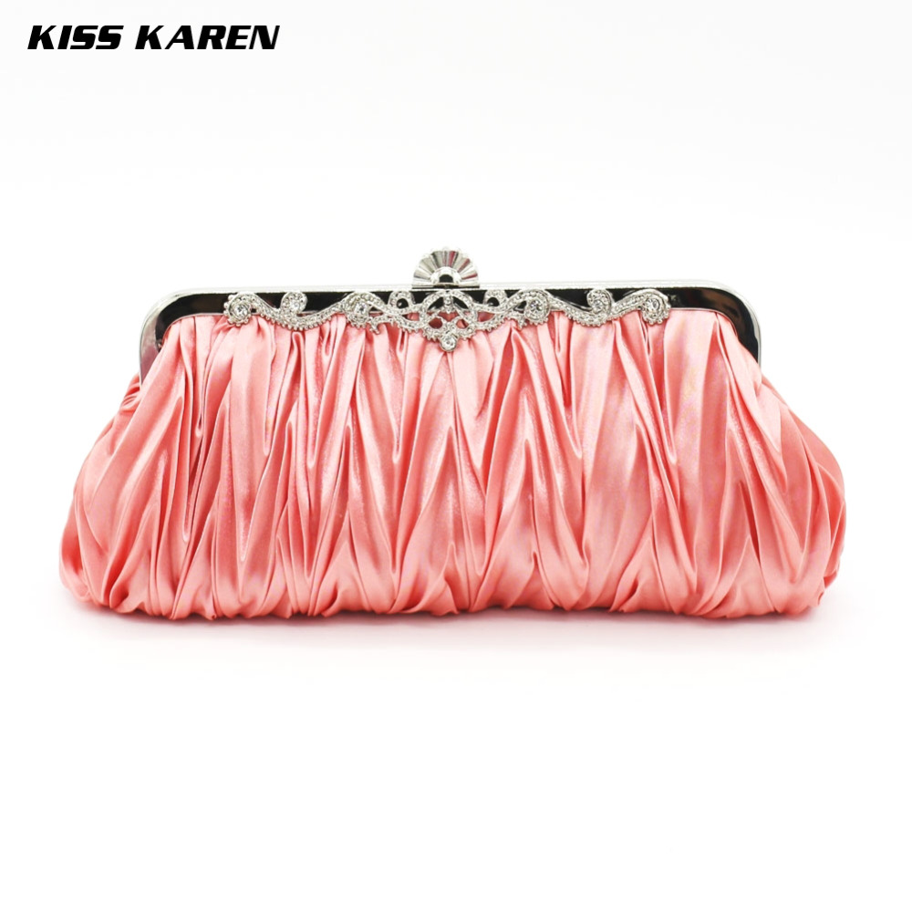 Kiss Karen Multicolored Plicated Satin Cute Frame Design Purse Women Clutch Bag Evening Bags Lady Clutches Club Party