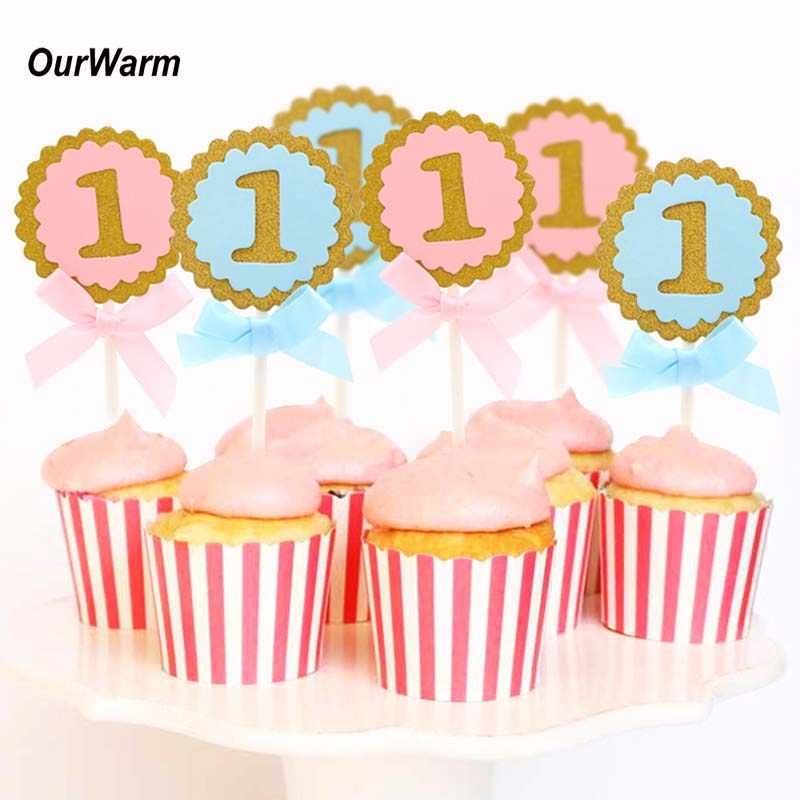 OurWarm 50Pcs Baby Boy Girl Birthday Cake Toppers 1st Decorations Cupcake Party