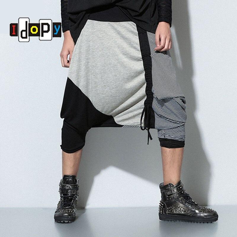 Fashion Men`s Plus Size Harem Pants Drop Crotch Patchwork Dance Hip Hop Punk Style Low Crotch Trousers For Male