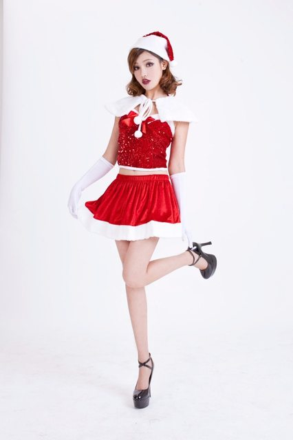value set lowest price women sexy christmas outfits dress skirttopsshawlhat lady period costumes luminous sequins clothes