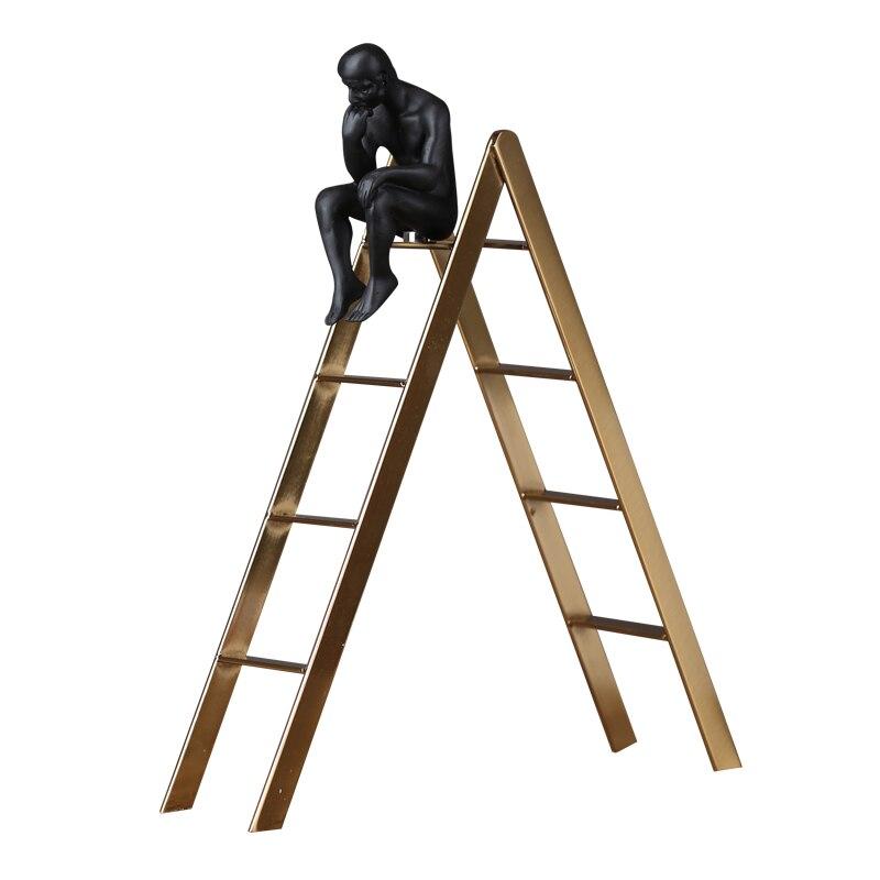 Abstrait escaliers penseur Figure Sculpture à la main résine Abjection homme Statuette nouveauté décor Art et artisanat Souvenir ornement