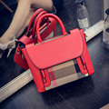 Women Handbags Leather And Canvas Patchwork Tote Bag Design Plaid Shoulder Bags Female Messenger Crossbody Bags Bolsa Feminina