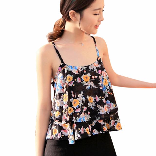 Caliente Atractivo de Las Mujeres Del Verano Correa de Espagueti de la Impresión Floral Camisa de Gasa Chaleco Tanques Camisolas Superior para Los Regalos