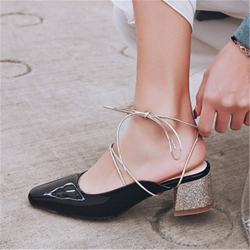 Plus Size 34-43 New Fashion Women Sandals Med High Heels Pointed Toe Slippers Lace up Wedding Shoes Ankle Strap Woman Sandalias fashion women mixed color sandals sexy pointed toe high heels shoes ankle strap rivets patent leather sandal plus size smybk 045