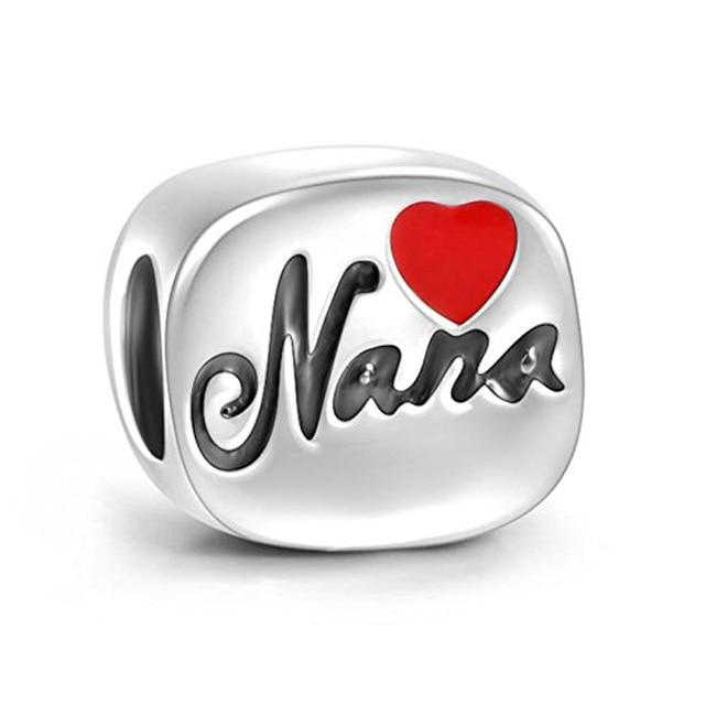 e9f98c6db ... new style red heart nana enamel 100 925 sterling silver charm beads fit  pandora european charms ...