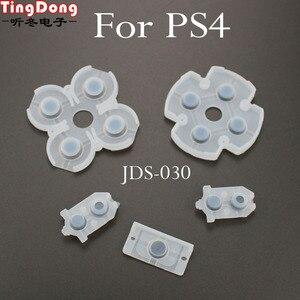 Image 4 - TingDong 100 Set Sony Playstation 4 PS4 Denetleyici İletken Silikon lastik tamponlar Dualshock 4 Düğmeler Onarım Değiştirme