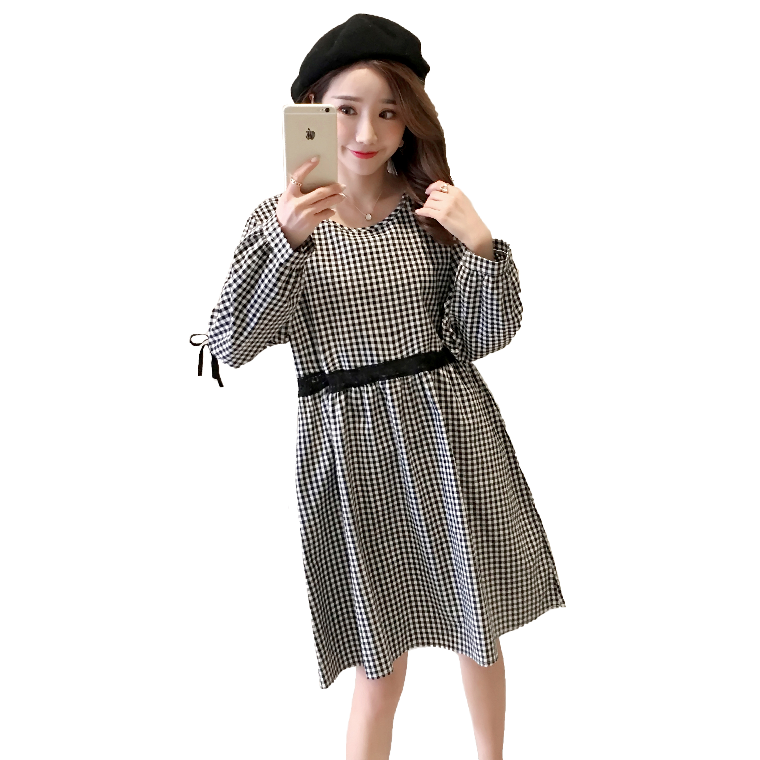 Plaid Maternity Dress Pregnancy Clothes Cotton Fashion Long Sleeve Pregnancy Clothing Of Pregnant Women 2018 Black