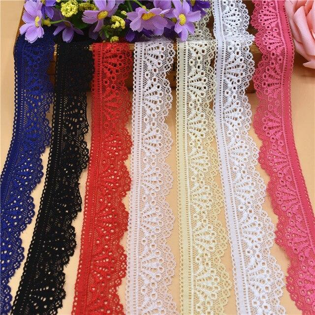 5 yardas/lote elástico cinta de encaje elástico francés africano adornos de encaje para coser encaje blanco tela de encaje africano