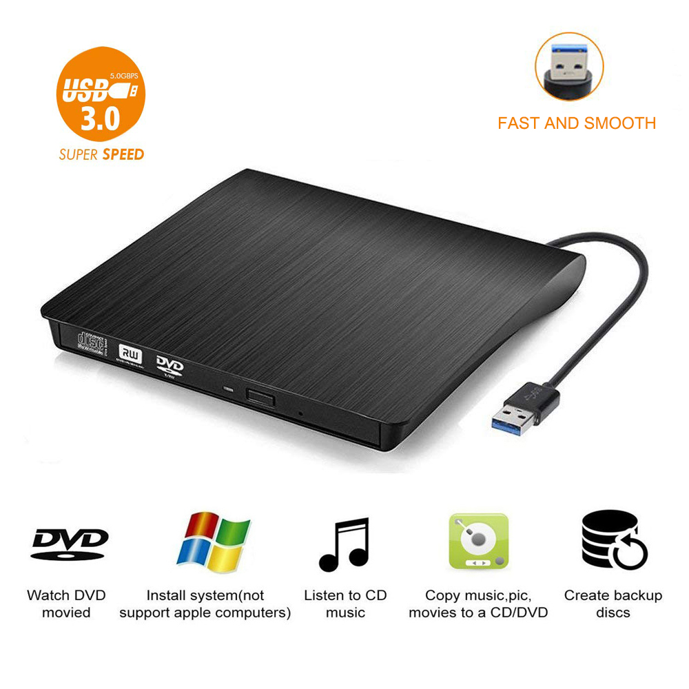 //-RW Portable USB 3.0 Emboss Texture Burner Rewriter for Laptop//PC//Windows//Mac OS HIOD External Optical Drive CD//DVD Drive