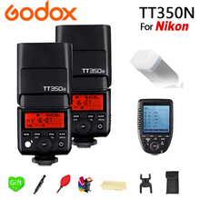 лучшая цена 2x Godox TT350N GN36 2.4G Wireless HSS 1/8000s TTL Flash Speedlite + Xpro-N Transmitter for Nikon D750 D7200 D7000 D5100 D7100