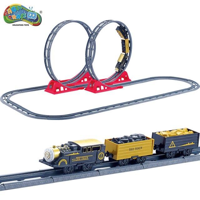 Race Track Car Magic Track Retro train Slot Electric Model Mini Rail Car Simulated Retro Mineral train Toys for Boys