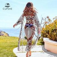 CUPSHE Сексуальная черная вязаная крючком кружевная накидка 2019 Женская однотонная Длинная пляжная одежда без рукавов Одежда