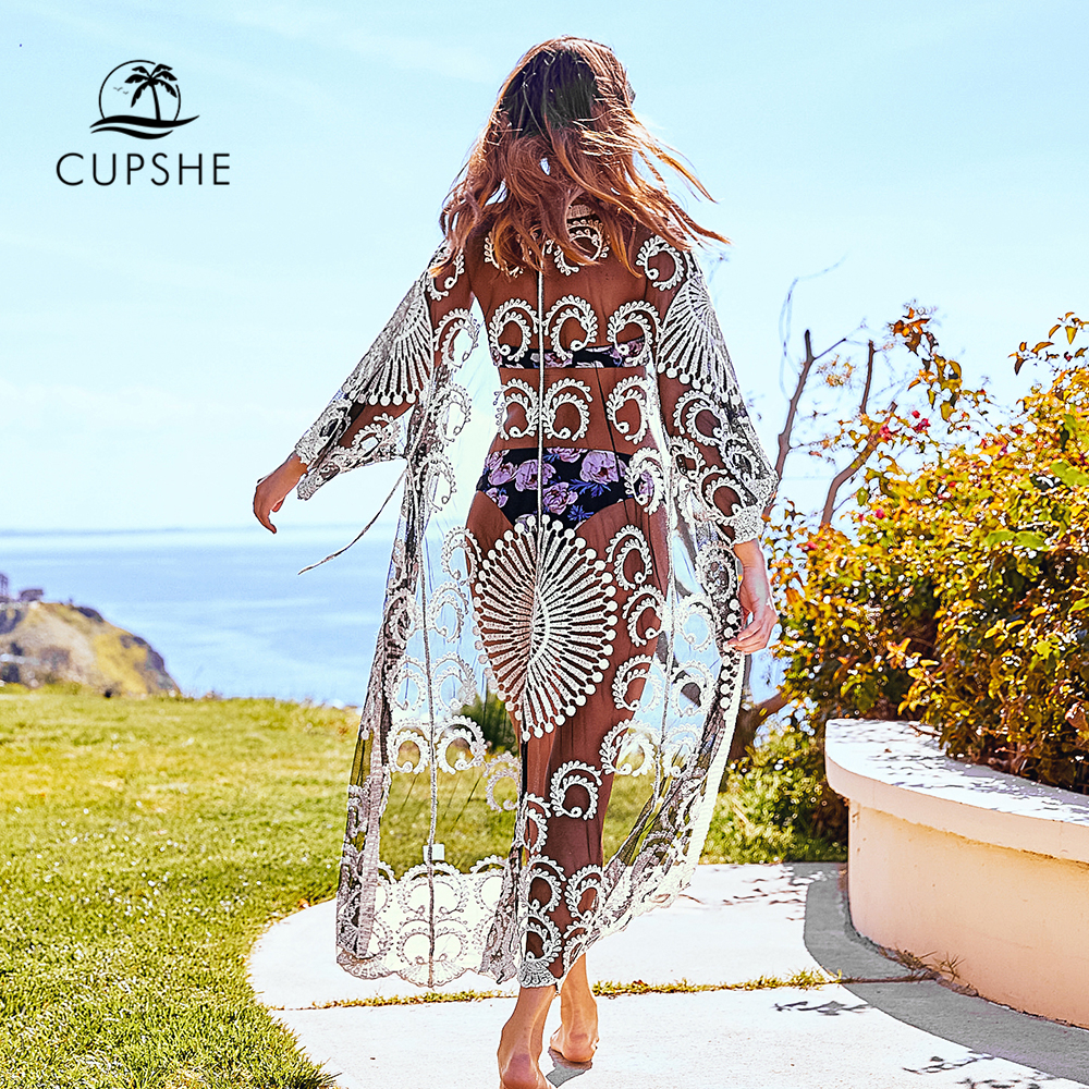 CUPSHE Sexy Black Crochet Lace Cover Up 2020 Women Solid Long Sleeveless Beach Wearing Clothing