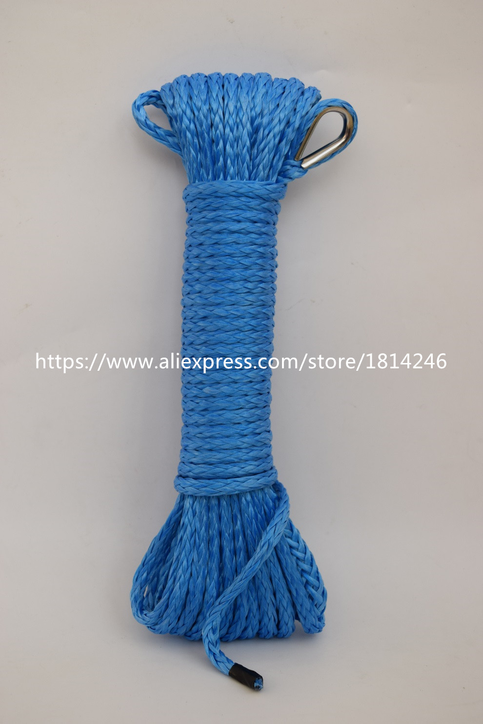 Blue 4mm*15m ATV Winch Line,Synthetic Winch Rope,Durable UHMWPE Rope For ATV UTV Vehicle Car Motorcycle