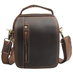 Image 5 - TIANHOO 100% borse a tracolla in vera pelle borsa da uomo in pelle di mucca retrò borse a tracolla borse da scuola multifunzione borse