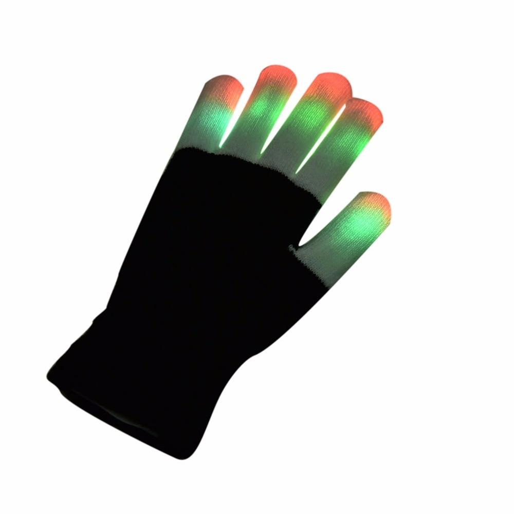 Black light gloves - 1 Pcs Led Glow Gloves Rave Light Flashing Finger Lighting Glow Mittens Magic Black Luminous Gloves