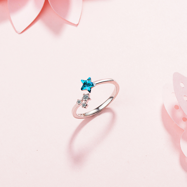 1bc898551af12f Special Offers 925 sterling silver open ring blue zircon jewelry simple  women's silver jewelry lucky ring