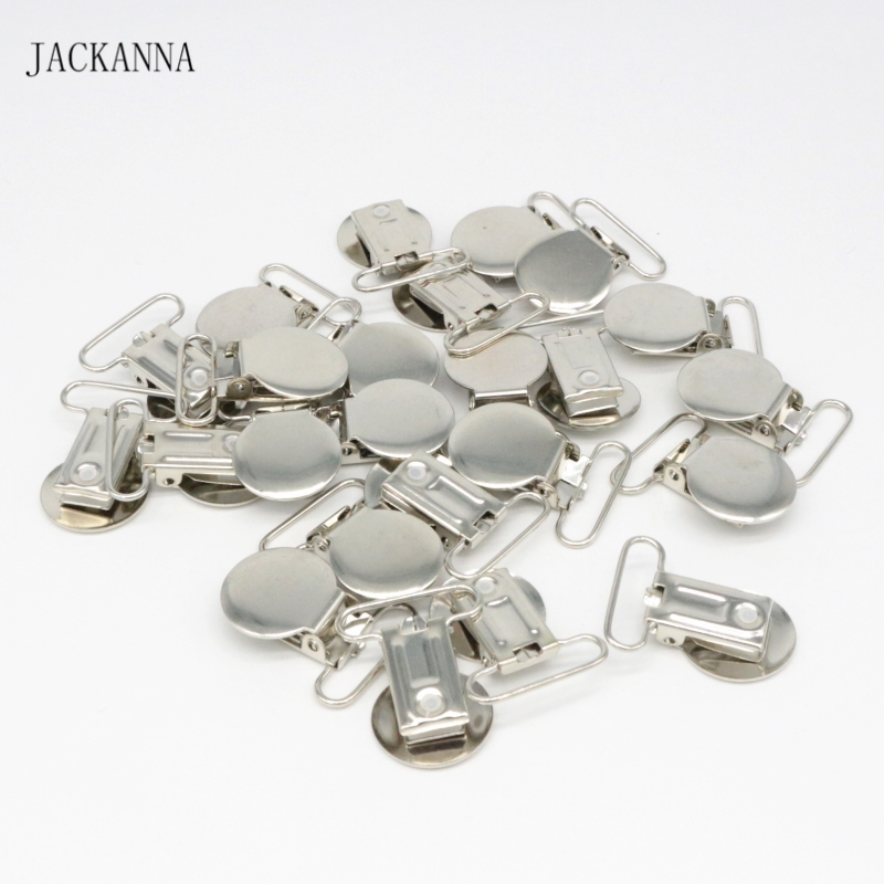 10PCS Metal Pacifier Clips Cute Suspender Clips DIY Round Dummy Soothers Clasps Pacifier Chain Accessories Baby Pacifier Holders