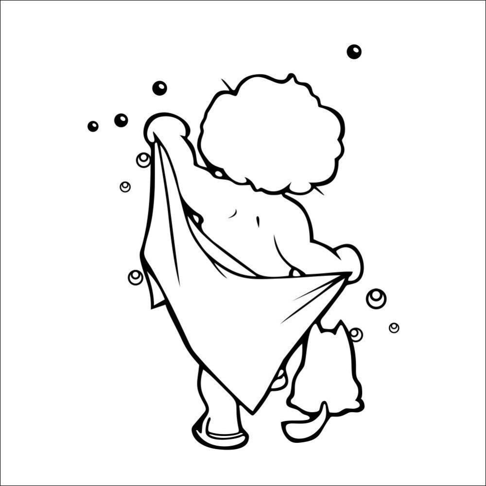 Lovely Baby Love Shower Bathroom Bubble Wall Stickers Gl Door Cute Children Decals Poster