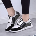 Hot! 2016 New Fashion Womens Weave Shoes Spring Autumn Mixed Color Checkered Breathable Sport Casual Shoes Tenis Feminino white