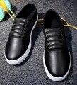 [C] 2017 Novo Homem das mulheres Plus Size Sapatos Mocassins Motorista Cor Preto Branco Para O Homem Loafers flat-Pu Lace-UP Sapatos de Homem. DC-209