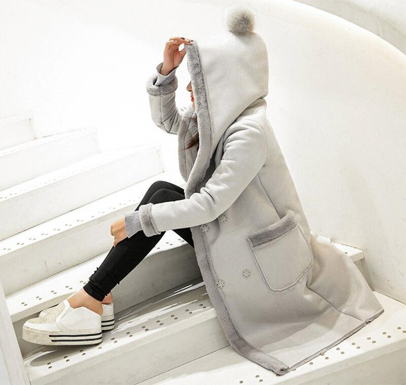 2018 Winter Coat Women Long   Suede   Jacket Lapel Warm Patchwork Coats Women Lamb Wool Hooded Motorcycle Parka Jaqueta YP0680