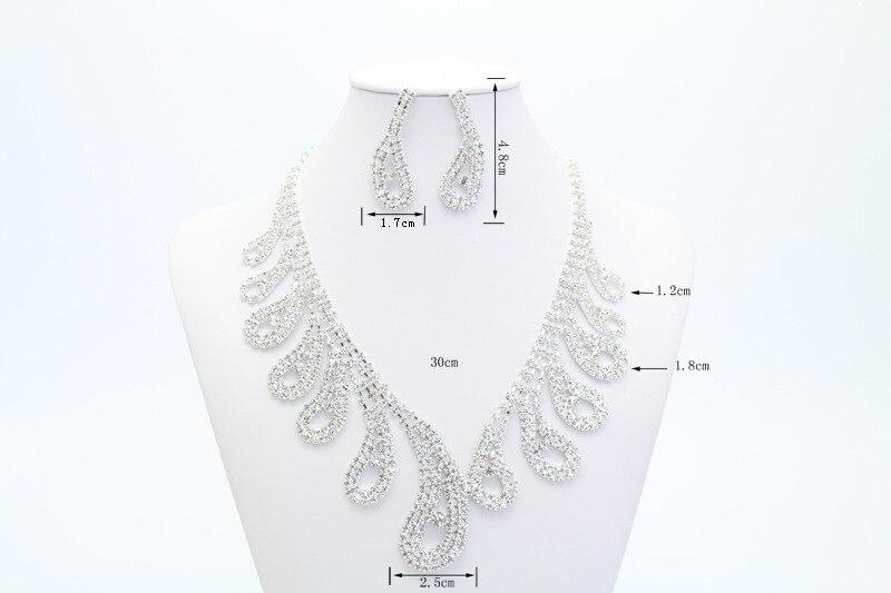 Moda Africano Conjuntos de Jóias para As Mulheres Folha Conjuntos de Jóias Nupcial Do Casamento de Cristal Rhinestone Colar Brincos (5)