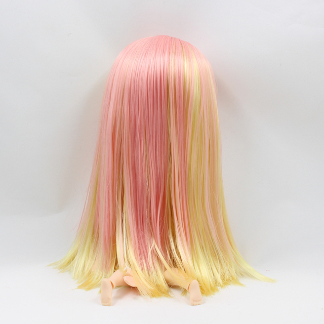 Fortune Days F&D New ICY DBS Doll Same As Factory Nude Doll Joint Body Mixed Color Pink  Yellow Long Straight Hair