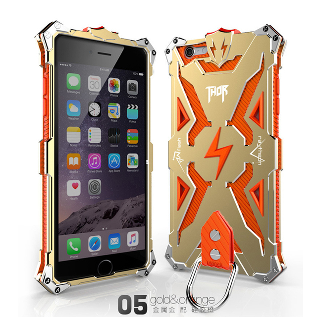 new product 2cca5 22dda US $20.85  Zimon Cramp Ring Fashion Phone Cases For iPhone 6 6S Plus THOR  IRON MAN Metal Silicon 2in1 Aluminum Luxury Tough Armor covers -in ...